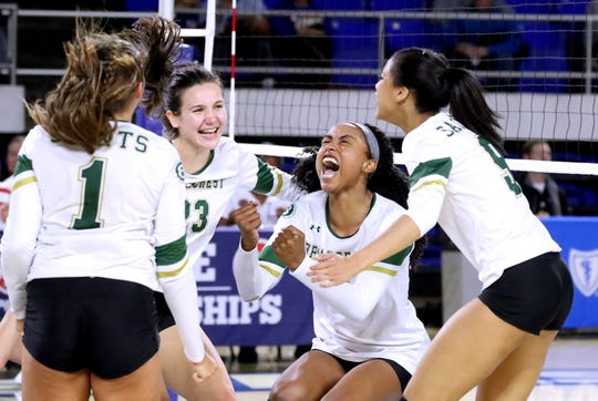 Briarcrest Christian's Loren Robertson (1), Rachel Sullivan (23), Alyiah Wells (12) and Aziah Buckner (9) celebrate after the final point was scored Thursday.