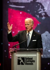 Vice President Joe Biden gives a speech at the National Civil Rights Museum Freedom Award night program after receiving his honoree award on Oct. 17, 2018, at the Orpheum Theatre.