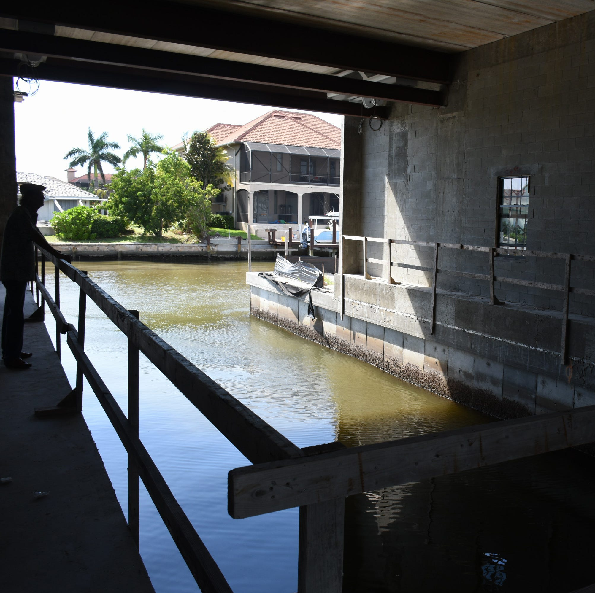 The boat's in the basement: Cut-in 'yacht garage' takes shape under waterfront Marco home
