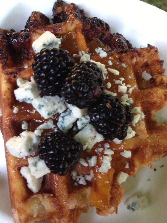 The Liege-style waffles of Press are served with a variety of toppings.