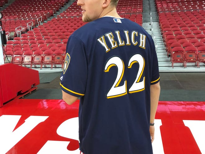 Guard Brevin Pritzl shows off his Brewers fandom at the Badgers' media day last week.