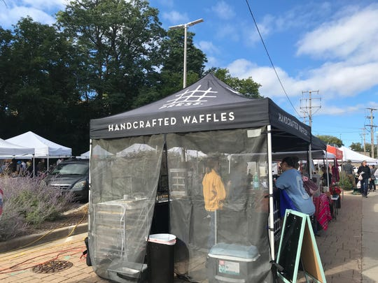 The Press waffle tent sets up at summer farmers markets, including Tosa's, in the village business district.