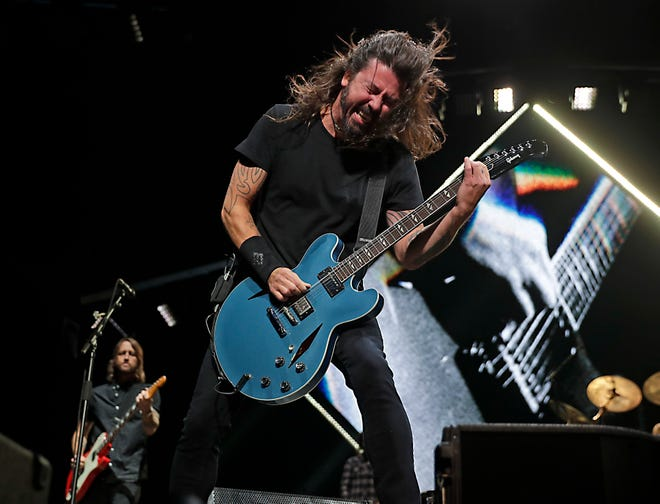 The Foo Fighters perform at Fiserv Forum in Milwaukee on  Oct. 17, 2018, during their 2018 Concrete and Gold World Tour.