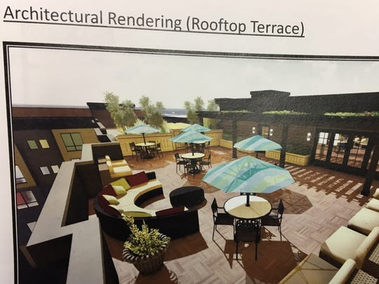 Rendering of roof terrace of proposed 28-unit loft apartment building in Morristown
