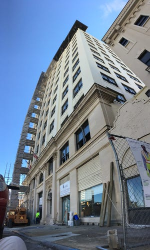 Work continues Thursday on the Bell Building in downtown Montgomery.