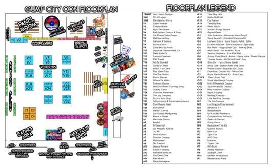 Gump City Con floorplan at the Multiplex at Cramton Bowl in Montgomery.