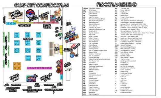Gump City Con floorplan at the Multiplex at Cramton Bowl in Montgomery.