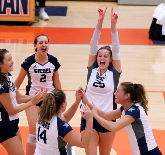 Siegel celebrates a point against Dobyns Bennett during day two of the TSSAA Class AAA State Girls Volleyball tournament at Blackman, on Wednesday, Oct. 17, 2018.