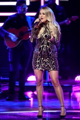 Carrie Underwood performs during the CMT Artists of the Year ceremony at the Schermerhorn Symphony Center in Nashville, Tenn., Wednesday, Oct. 17, 2018.