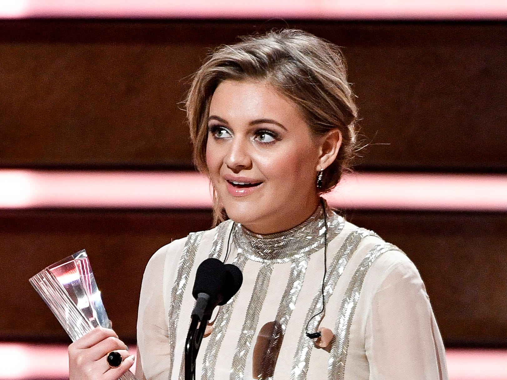 Kelsea Ballerini speaks after receiving her award during the CMT Artists of the Year ceremony at the Schermerhorn Symphony Center in Nashville, Tenn., Wednesday, Oct. 17, 2018.