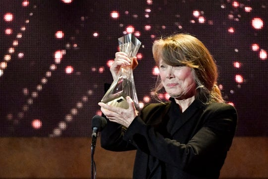 Sissy Spacek accepts the Artist of a Lifetime Award on behalf of Loretta Lynn during the CMT Artists of the Year ceremony at the Schermerhorn Symphony Center in Nashville, Tenn., Wednesday, Oct. 17, 2018.