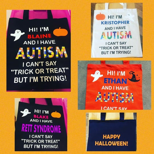 Danielle Kimball makes and sells special trick-or-treating bags for children with special needs.