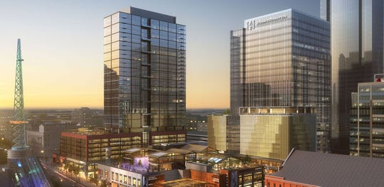 A rendering shows the office building AllianceBernstein will occupy in the Fifth + Broadway project. AllianceBernstein recently joined with the Tennessee Equality Project and other groups to speak out against three Tennessee bills.