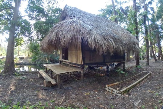 This bamboo hut on an organic citrus and vegetable farm in Fort Myers is available for rent through Airbnb.