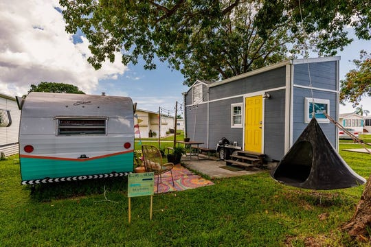 This newly remodeled tiny house and vintage RV near Sanibel in Fort Myers is available for rent through Airbnb.