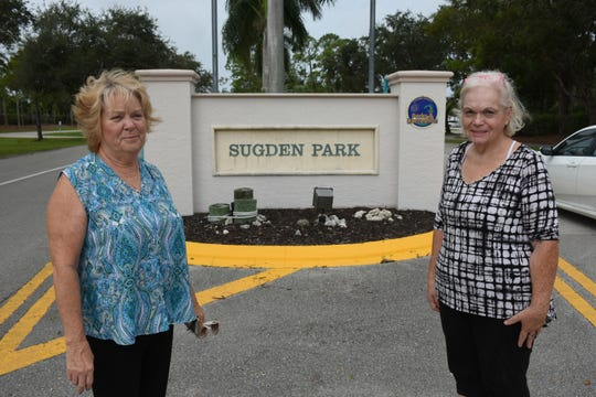 Naples Wings of Hope founders Shelly Dunn, right, and Peggy Moberg at the Sugden Park entrance. The local nonprofit assistance group, that sprang up after Hurricane Irma, will hold a free fall festival Saturday, Oct. 27 at Sugden Park.