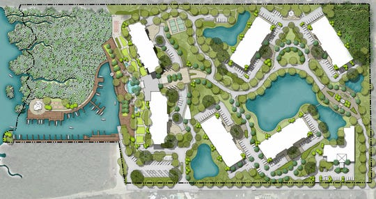 London Bay Homes' proposed plan of the former Weeks Fish Camp site. The public boat ramp and parking sit at the bottom left of the site. The continuing care retirement community would have six buildings with the largest standing at 20 stories tall.
