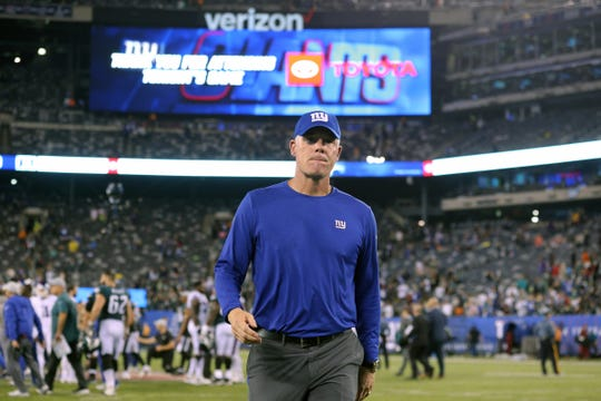 Oct 11, 2018; East Rutherford, NJ, USA; New York Giants head coach Pat Shurmur leaves the field after a game against the Philadelphia Eagles at MetLife Stadium.