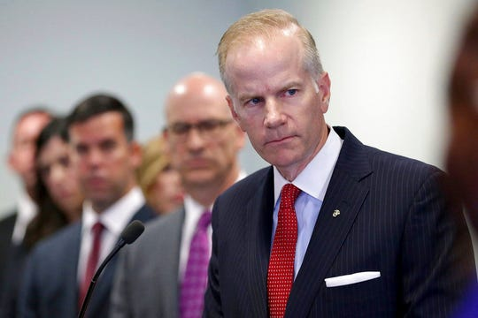 FILE - In this Aug. 29, 2018, file photo, U.S. Attorney William McSwain is shown at a news conference in Philadelphia. McSwain sent out grand jury subpoenas last week to Pennsylvania dioceses as part of a federal investigation of clergy abuse in Catholic churches. The investigation, which follows a state grand jury probe, was confirmed by multiple sources who spoke to The Associated Press on condition of anonymity. McSwain wouldn't comment.