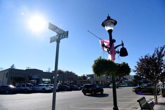 The street lamps along Broadway in downtown Denville have speakers that play music. Photographed on Thursday, Oct. 18, 2018.