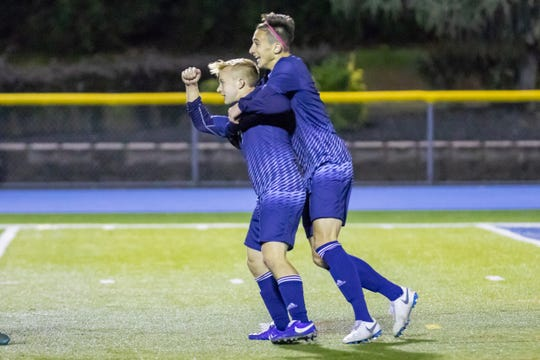 Paramus celebrating a goal against Hackensack on Wednesday, October 17, 2018.