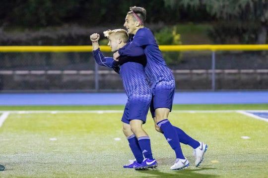 Paramus celebrating a goal against Hackensack on Wednesday, October 17, 2018.