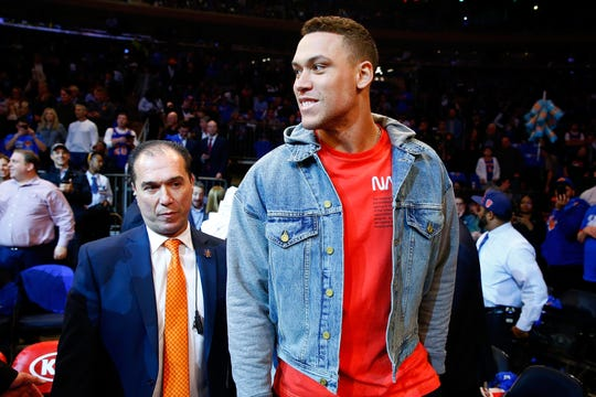 NEW YORK, NY - OCTOBER 17:  Aaron Judge of the New York Yankees attends the between the New York Knicks and the Atlanta Hawks at Madison Square Garden on October 17, 2018 in New York City.