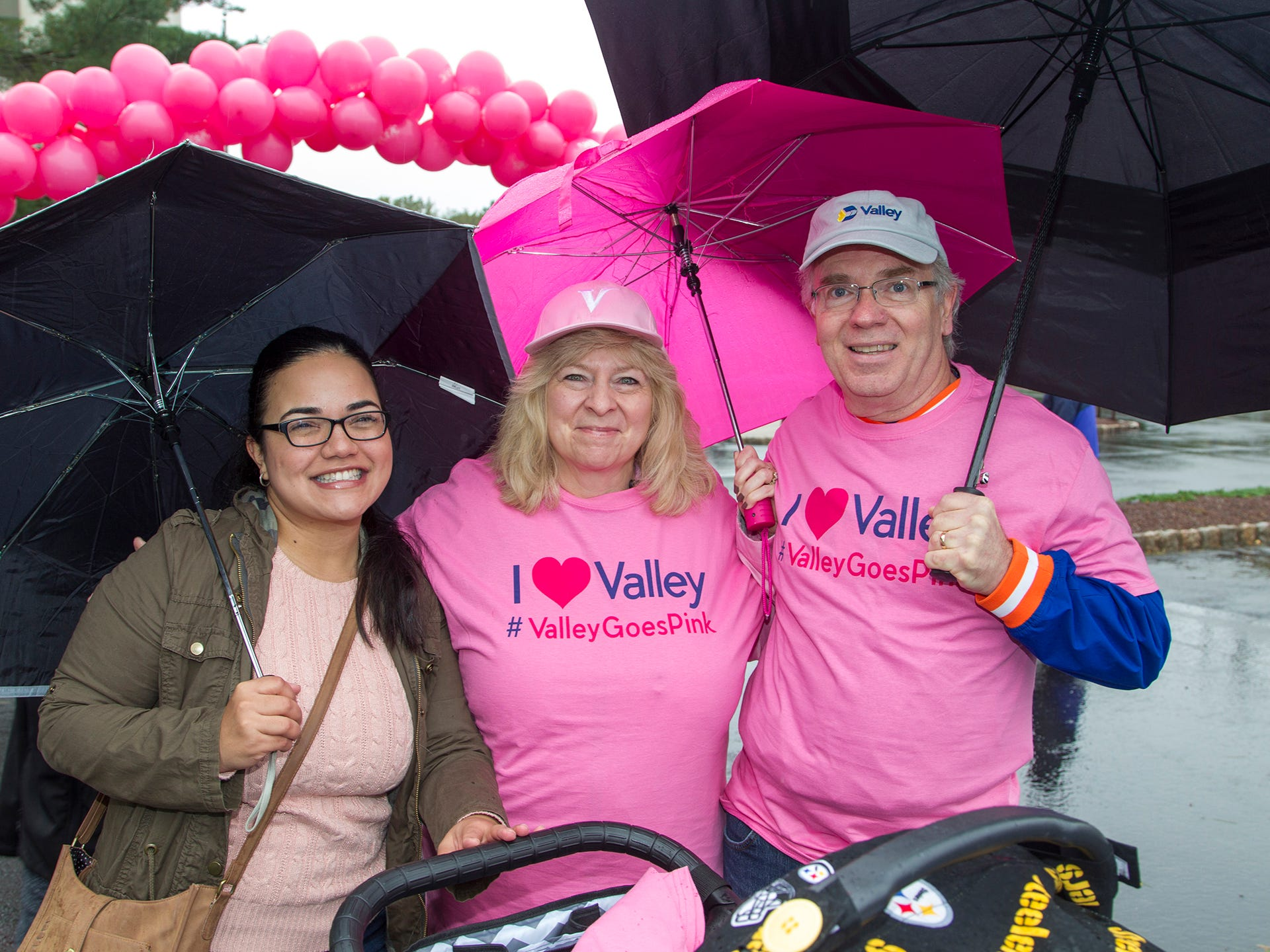 Jaclena Matoss, Debbie Mackey, Edward Mackey. Valley National Bank held its 10th annual Breast Cancer Walk in Wayne. 10/13/2018