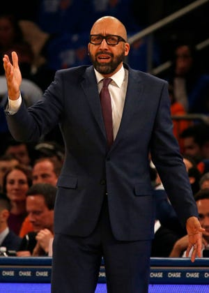 Oct 17, 2018; New York, NY, USA; New York Knicks head coach David Fizdale directs his team against the Atlanta Hawks during the first half at Madison Square Garden.