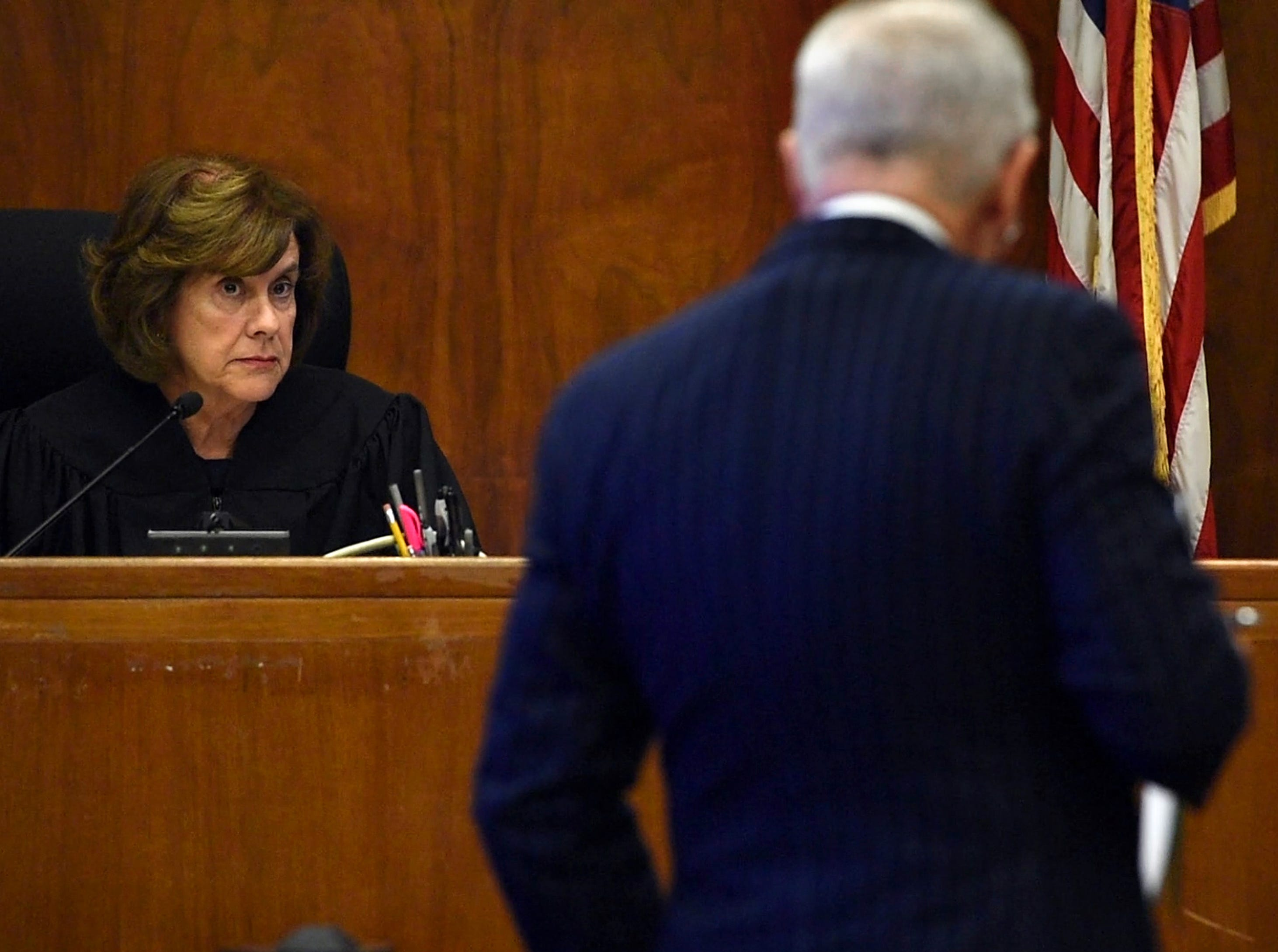 Jared Clackner, of Denville, is on trial in Bergen County Superior Court for killing his friend William Henning after a ZZ Top concert in 2015. Clackner is charged with aggravated manslaughter in the death of Henning. Judge Susan Steele listens while Brian Neary, attorney for Clackner, cross examines forensic pathologist and former asst. Bergen County Medical Examiner Dr. Jennifer Swartz. Swartz performed the autopsy on William Henning in March 2015. October 17, 2018.