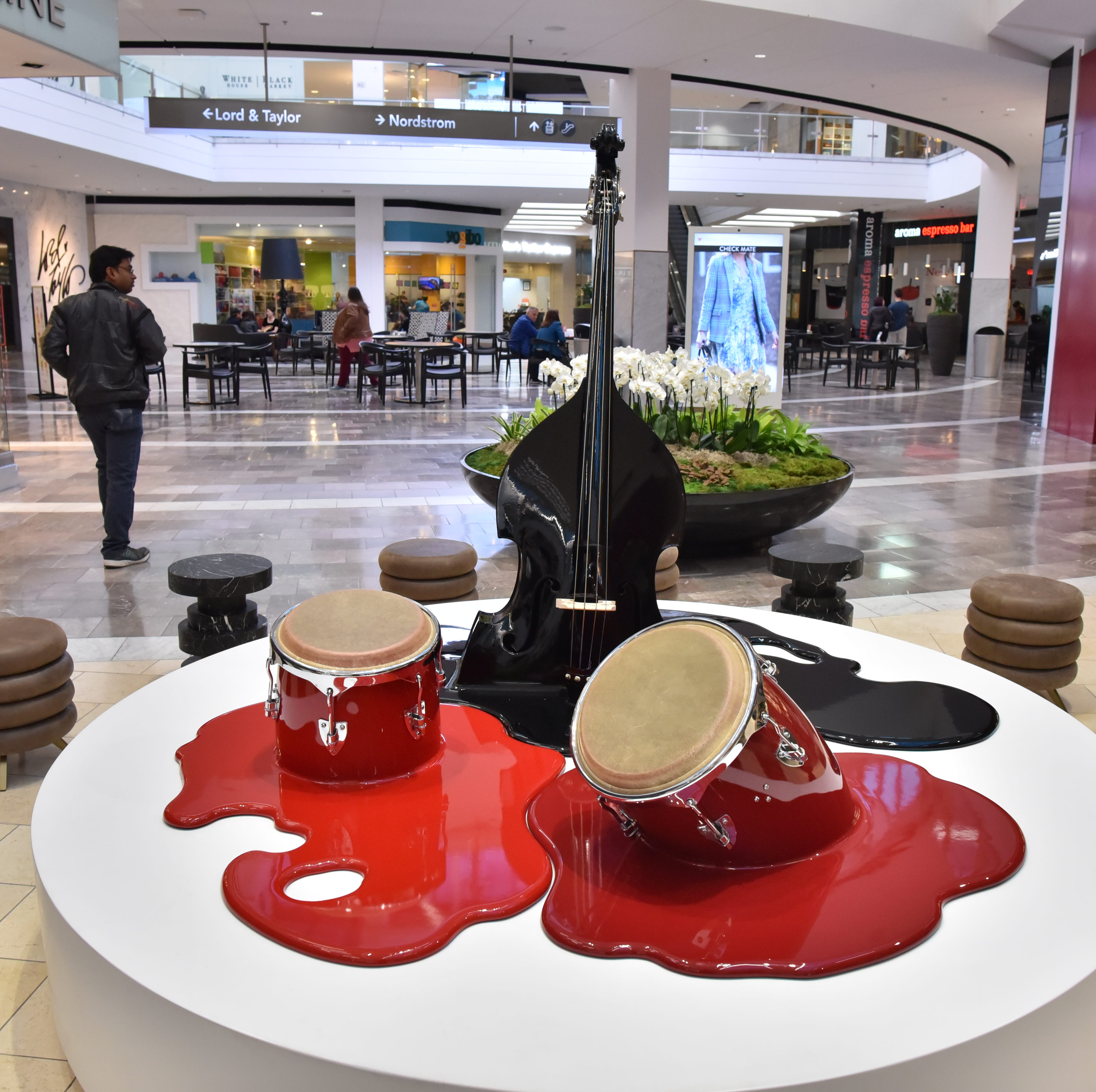 """Trio"", a sculpture by Havana-based collective Los Carpinteros, is on permanent display at the Garden State Plaza in Paramus. Westfield Garden State Plaza unveiled a contemporary art collection of modern sculptures and paintings on Wednesday, October 17."