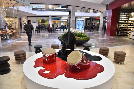 """""""Trio"""", a sculpture by Havana-based collective Los Carpinteros, is on permanent display at the Garden State Plaza in Paramus. Westfield Garden State Plaza unveiled a contemporary art collection of modern sculptures and paintings on Wednesday, October 17."""