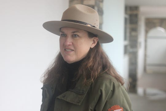 Julie McGilvray, cultural resources program manager at Guadalupe Mountains National Park, gives a tour of the Ship on the Desert, Oct. 18, 2018 in Salt Flat, Texas.
