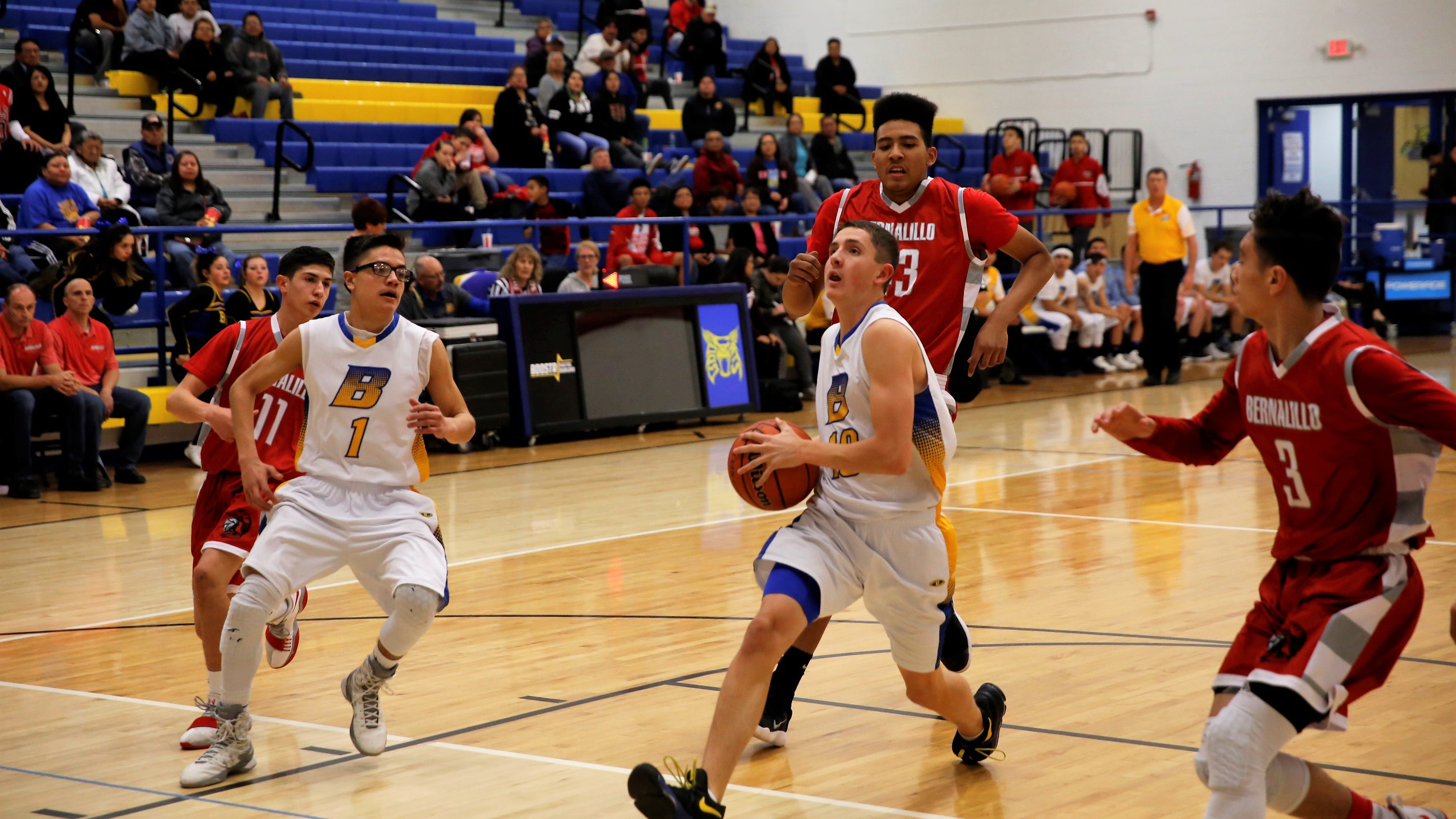 Bloomfield's Josh Boehm (10) drives to the basket during a non-district game against Bernalillo on Tuesday, Jan. 2, 2018 at Bobcat Gym. Bloomfield opens the new season Nov. 29 at the Jerry Richardson Memorial tournament in Shiprock.