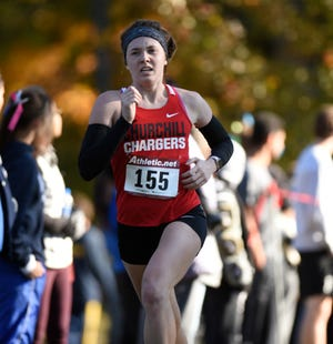 Churchill's Grace Vaeth ran a personal best 19:51.0 to place 25th and earn all-conference honors at the KLAA meet Oct. 18 at Huron Meadows Metropark.
