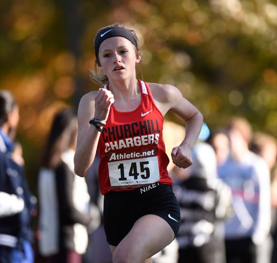 Churchill's Sierra Greener took 14th overall in the KLAA girls cross country meet at Huron Meadows.