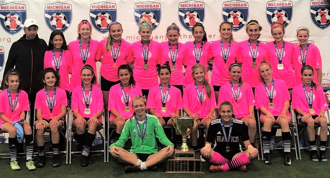 The Michigan Hawks U15 girls team captured the Michigan State Youth Soccer Association Cup on Oct. 14 at Ultimate Soccer Arenas in Pontiac.