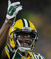 Green Bay Packers wide receiver Marquez Valdes-Scantling (83) reacts after a catch against the San Francisco 49ers at Lambeau Field on Monday, October 15, 2018 in Green Bay, Wis.