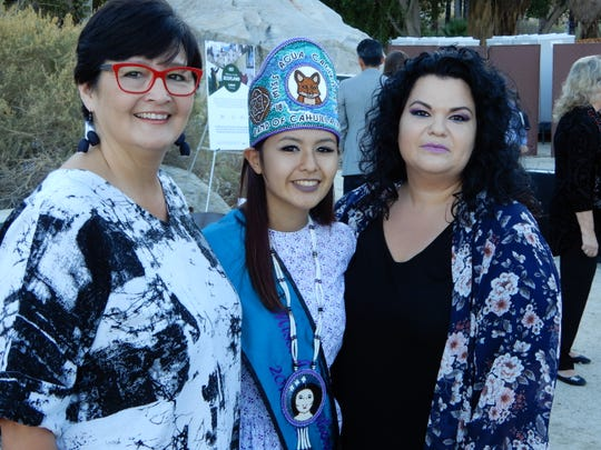 (left to right) Lisa Patencio, Designer of the Miss Agua Caliente crown (pictured) Justice Galindo, Miss Agua Caliente 2018, and Sunshine Edwards.