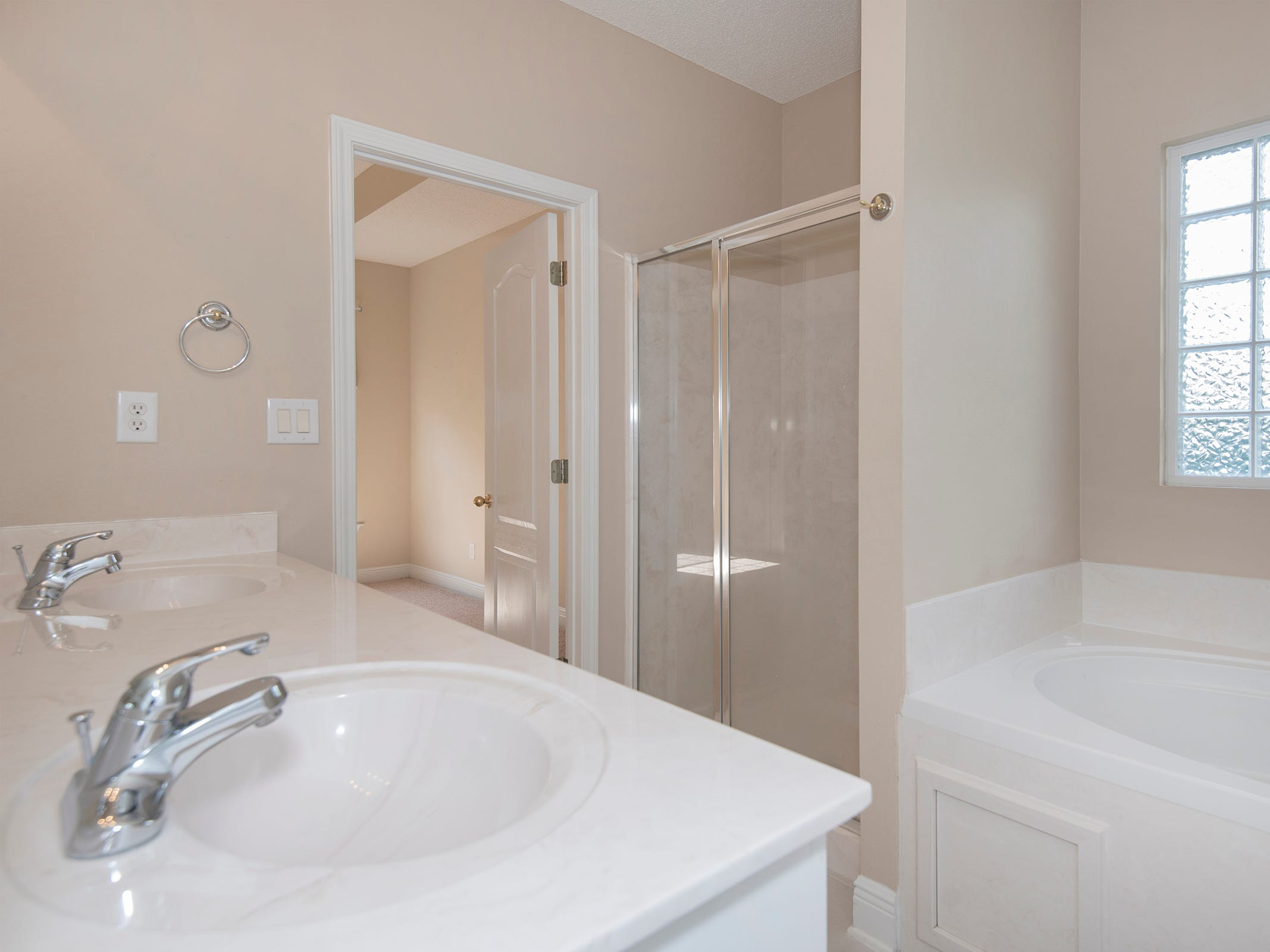 2363 Queens Ferry LaneThe master bath with a jetted tub and walk-in shower.