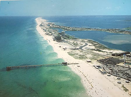 Aerial view of Pensacola Beach pier.