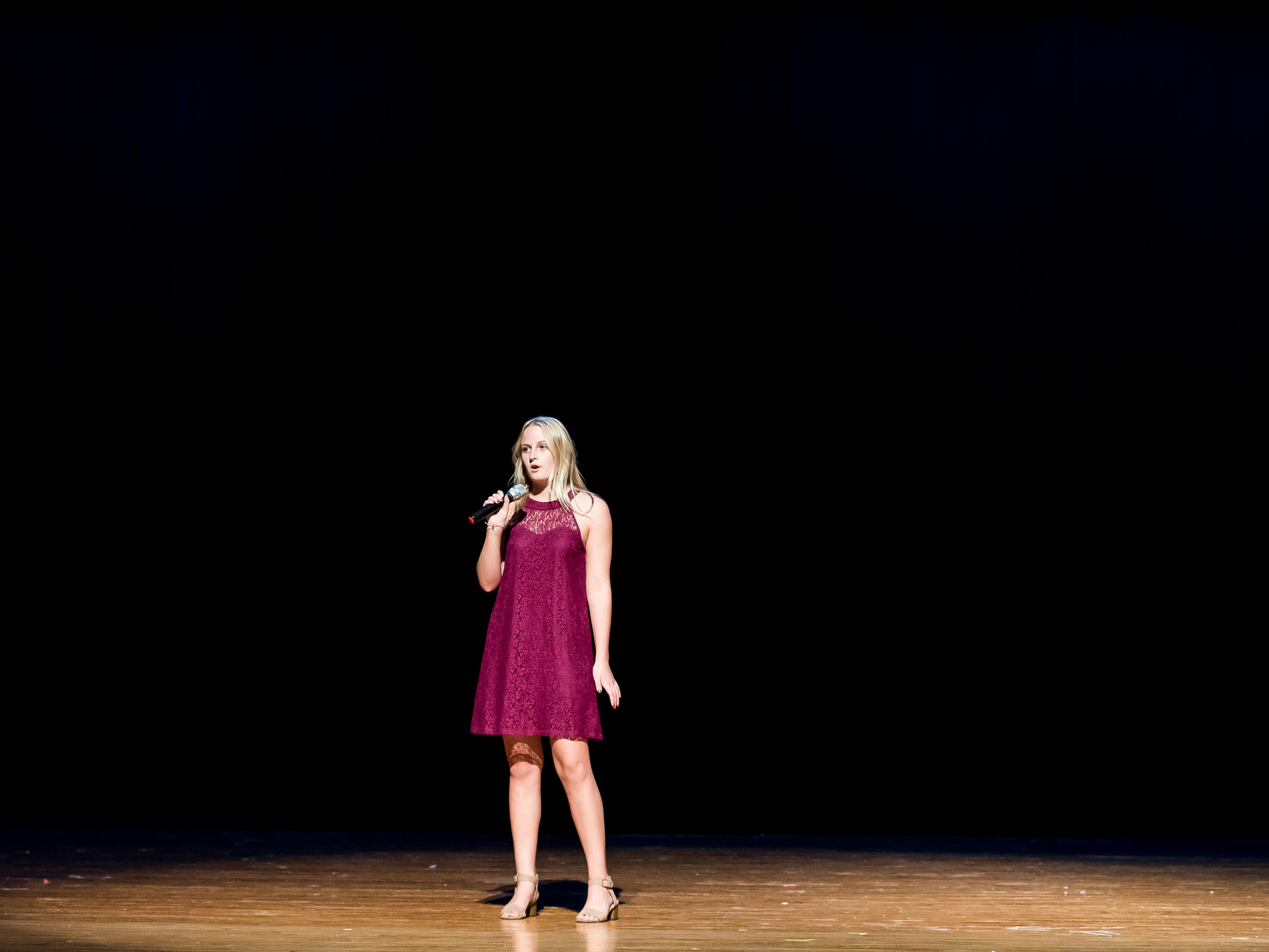 South Western's Sara Green sings during a rehearsal session for Miss Hanover Area pageant at New Oxford High School on Oct. 17, 2018.