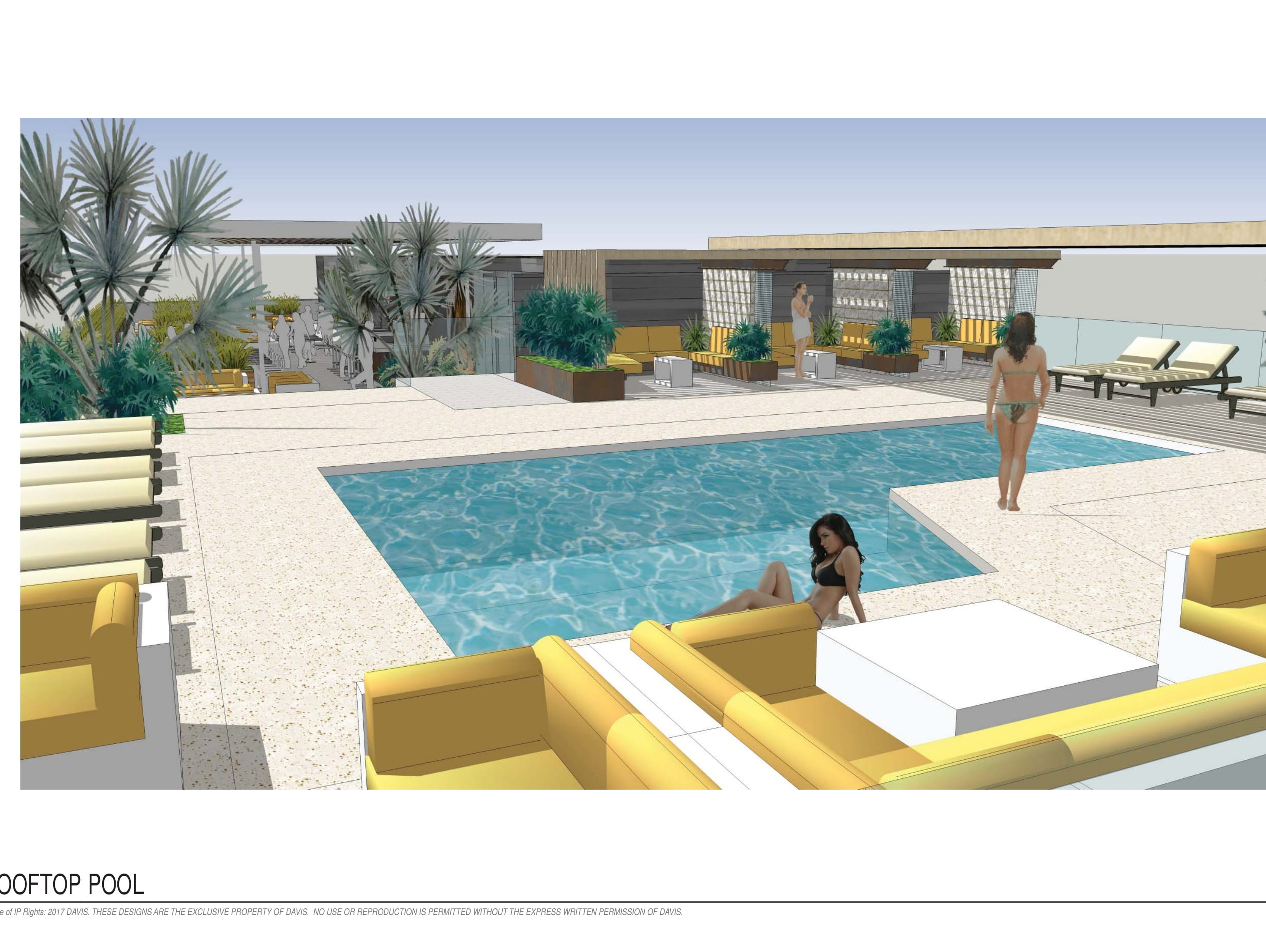 Renderings of rooftop pool on the seven-story Cambria hotel going up in downtown Phoenix's Roosevelt Row.