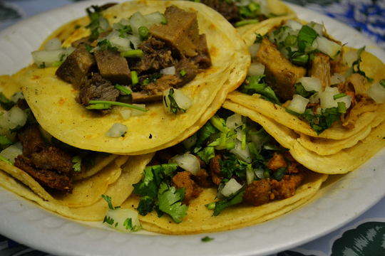 Lengua, pollo and al pastor tacos at Waldo's Tacos in Peoria.