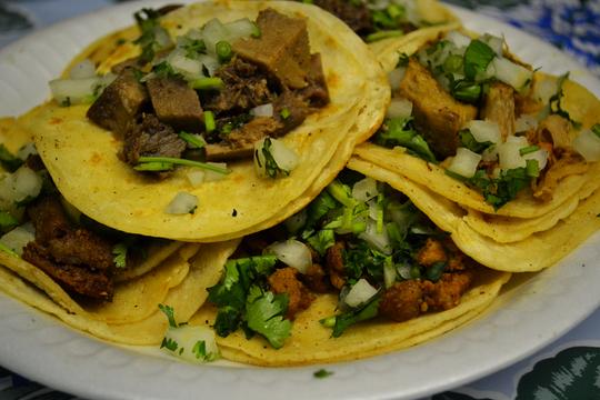 Lengua, pollo and al pastor tacos at Waldo's Tacos in Peoria.