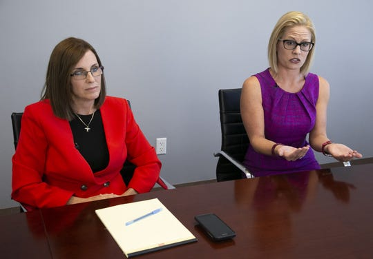Arizona's Sens. Kyrsten Sinema and Martha McSally spoke to the Arizona Republic editorial board in October 2018. They have both been silent about President Donald Trump's intention to declare a national emergency to fund his multi-billion dollar border wall.