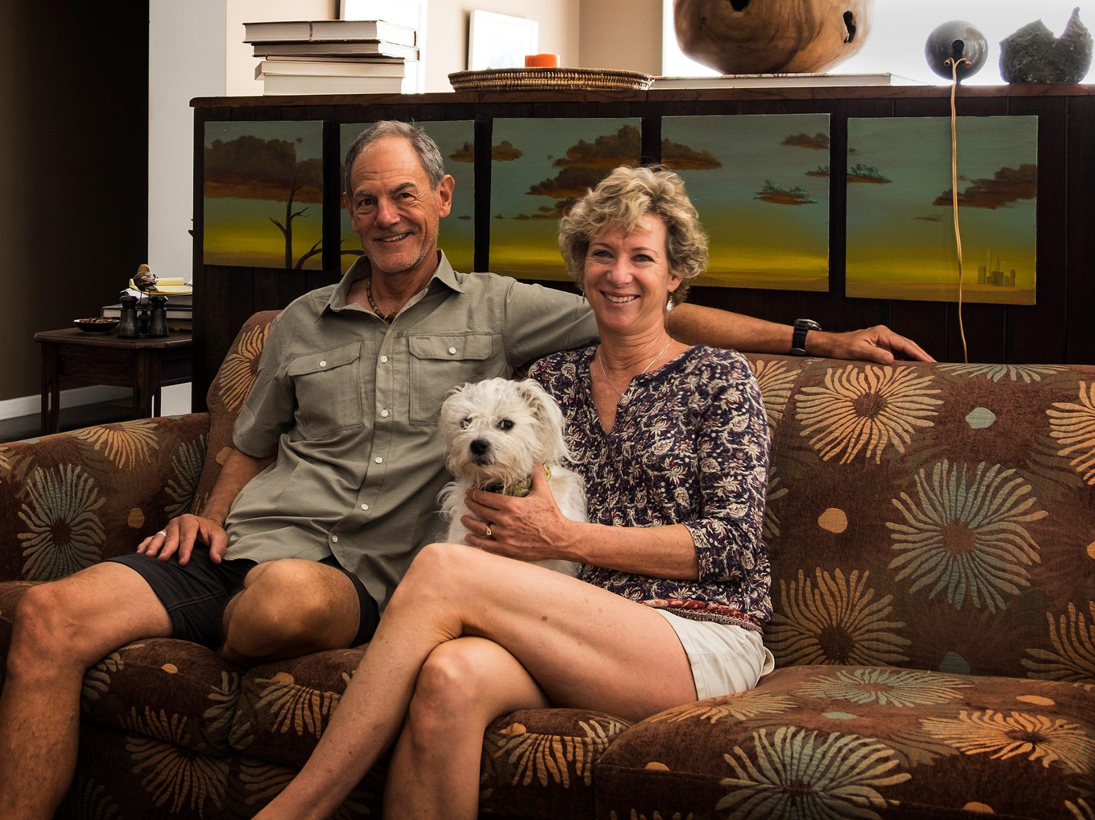 Steve Emrick and Liz O'Brien in their high-rise home.