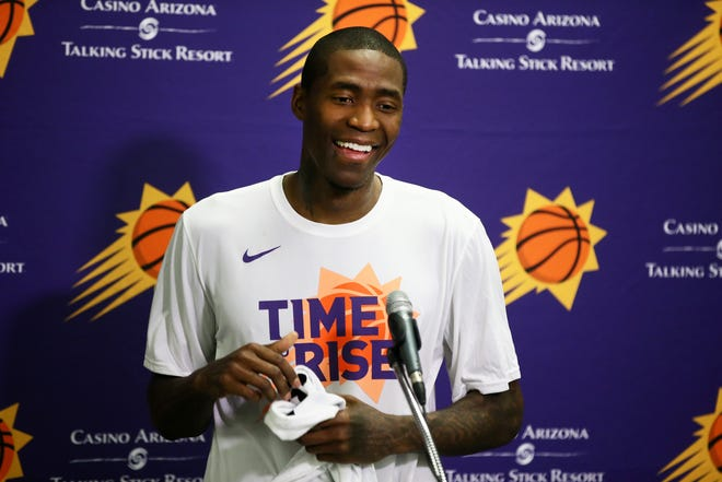 New Phoenix Suns guard Jamal Crawford holds a press conference before the season opener at Talking Stick Resort Arena on Oct. 17, 2018, in Phoenix, Ariz.