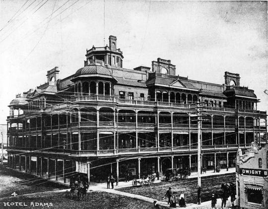 The Hotel Adams in downtown Phoenix as seen around 1904. The hotel was destroyed by fire in 1910 and rebuilt.