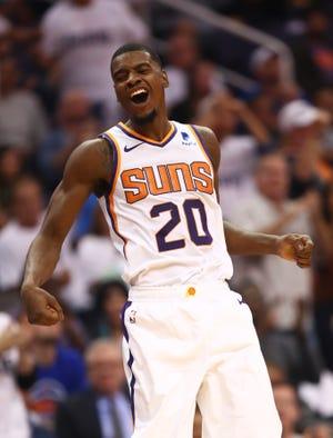 Suns forward Josh Jackson celebrates during the fourth quarter of a game Oct. 17 against the Mavericks.